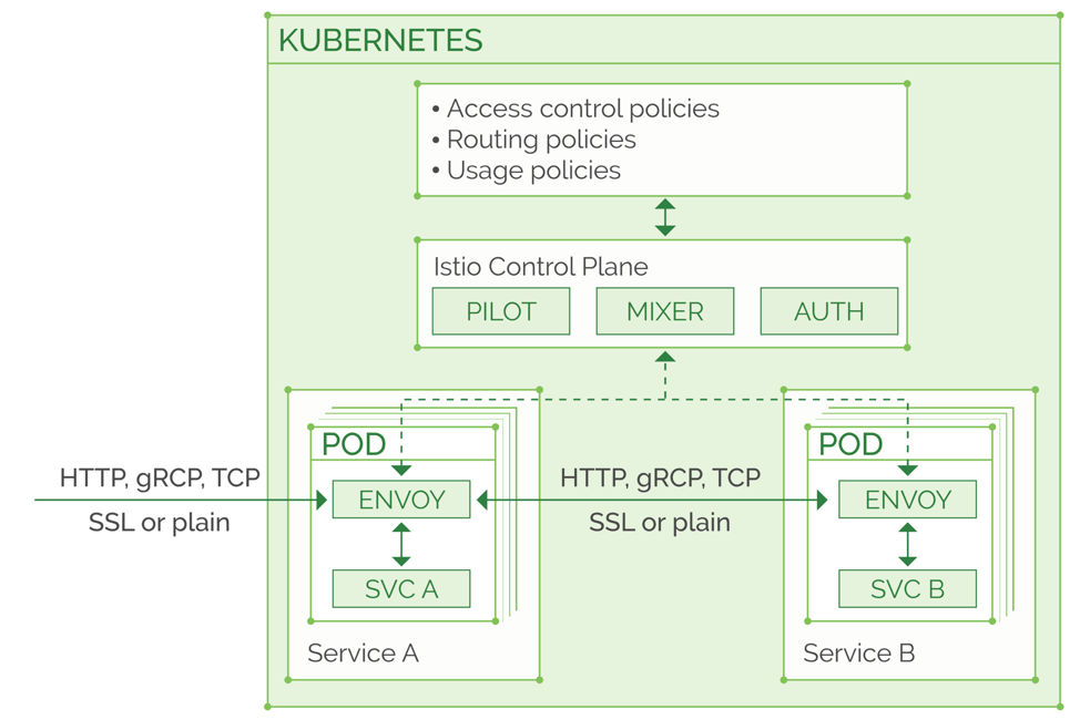 Istio topology in a Kubernetes cluster