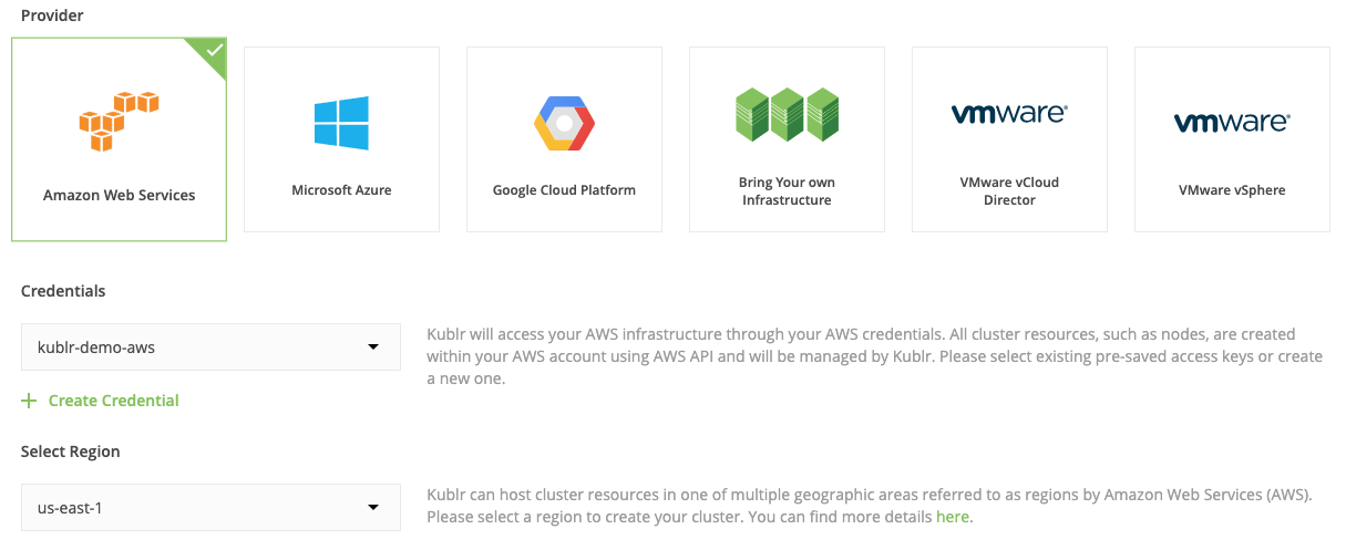 Kublr Dashboard. Add Cluster